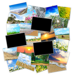 Frame for a photo on the background picture of the nature of the