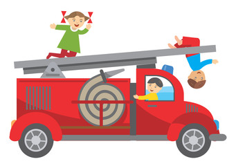 Fire truck and children