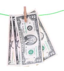 Dollar bills hanging