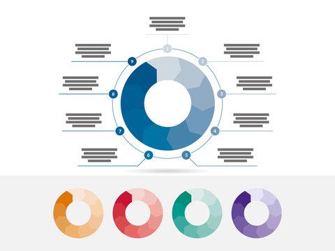 Nine sided presentation infographic diagram chart vector