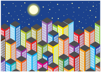 colorful cartoon skyscrapers by night