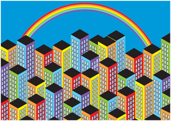 cartoon vector skyscrapers with rainbow