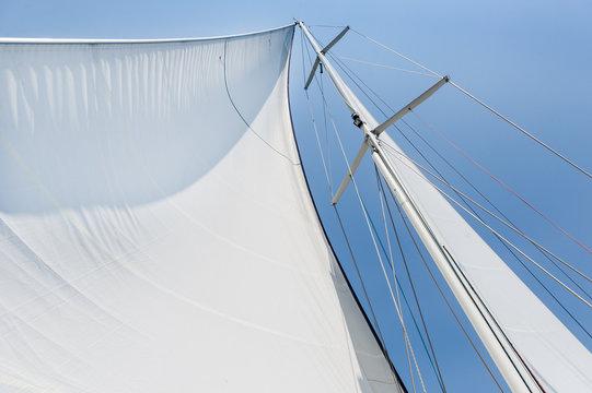 Big white sail hoisted