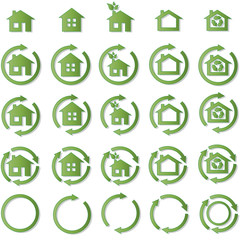 Ecohouse vector illustration pack