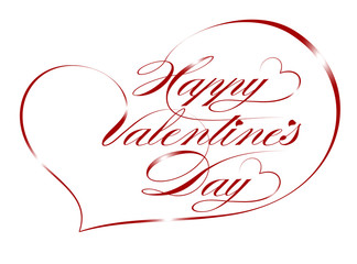 """Red Greeting Card """"Happy Valentine's Day"""", vector"""