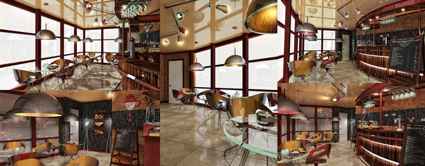 the interior of cafe in modern style thoughtful design