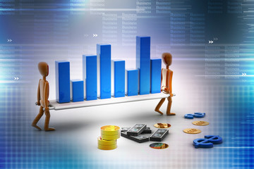 2 person carrying Business Graph. Teamwork Business concept.