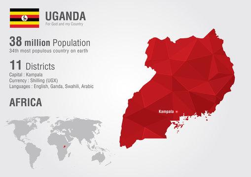 Uganda world map with a pixel diamond texture.