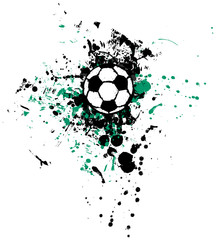 grungy soccer ball, vector illustration