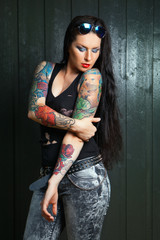 lovely woman with tattoo,.,,