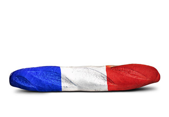Fototapete - French baguette sandwich in the form of a flag, funny
