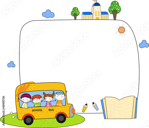 Cute cartoon kids and school bus frame\