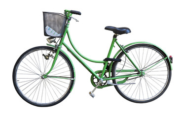 Old green bicycle with basket