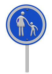 crosswalk sign with woman amd child walking