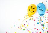 bunte smiley luftballons mit konfetti stockfotos und lizenzfreie vektoren auf. Black Bedroom Furniture Sets. Home Design Ideas
