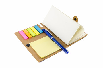 notebook with notice papers and pen