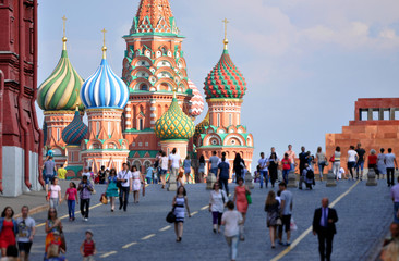 Foto op Aluminium Moskou Red Square and St. Basil's Cathedral in Moscow