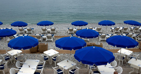 City of Nice - Beach with umbrellas