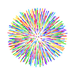 rainbow fireworks on white background