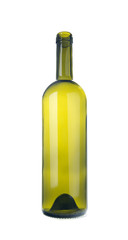 Empty green glass bottle