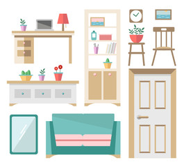 Vector flat design interior objects and furniture