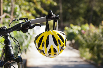 Printed roller blinds Bicycle cycling helmet closeup on bicycle outdoors
