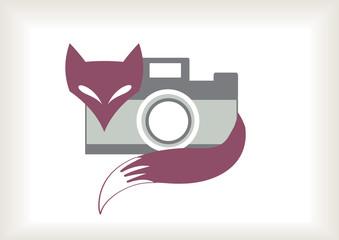 funny retro fox with camera