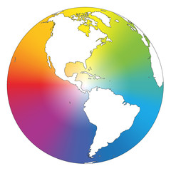 Rainbow Color Gradient Earth White