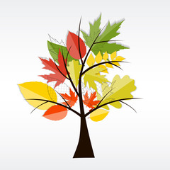 Shiny Autumn Natural Tree Background. Vector Illustration