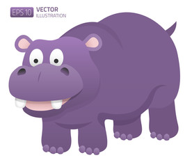 Smiling hippopotamus illustration