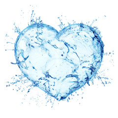 Heart from water splash isolated on white