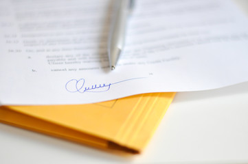 Signing a contract concept