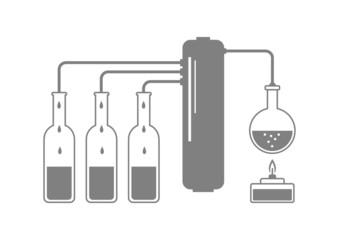 Grey distillation kit on white background