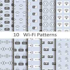 Set of ten wi-fi patterns