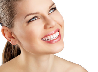 Beautiful woman with white fresh toothy smile, isolated