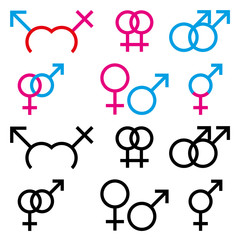 Illustration of male and female sex symbol in colour and black a
