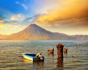 Beatiful sunset at the lake Atitlan near the volcano.