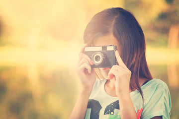 Pretty photographer girl