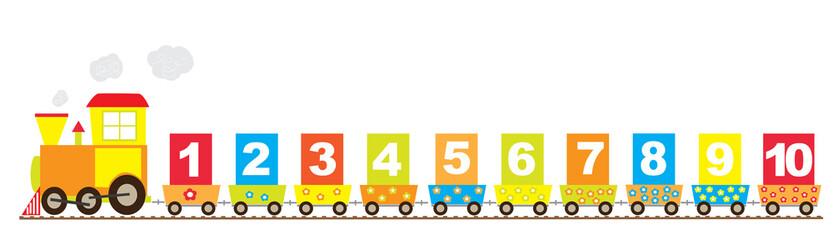 1-10 numbers, math train- vectors for children