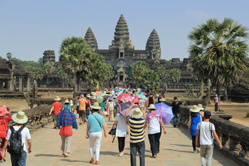 Tourism run on Temple Angkor Wat in Cambodia