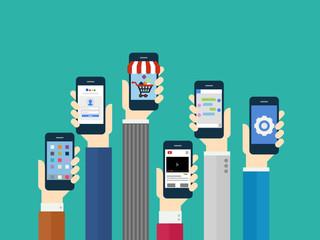 Fototapeta Mobile Application Concept - Flat Design obraz