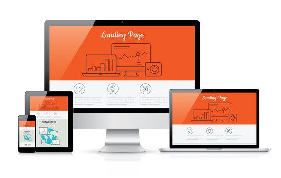 Responsive landing page development vector template illustration