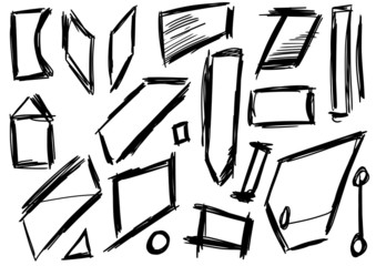 Doodle, Set hand drawn shapes, square, trapezoid