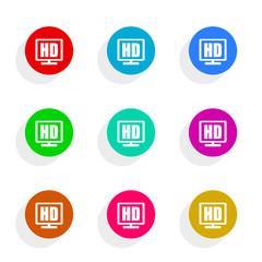 hd display flat icon vector set