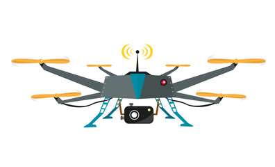 Remote Controlled Drone with Camera Vector. Flat Design