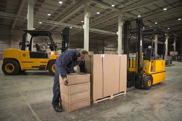 Forklift operator loading merchandise at warehouse