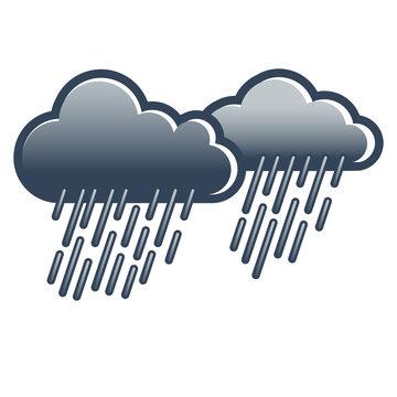 Regen, Wolken, Wetter, symbolisch, icon, grau in grau