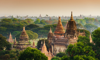Wall Murals Place of worship The Temples of Bagan at sunrise, Bagan, Myanmar