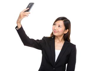 Businesswoman talk selfie