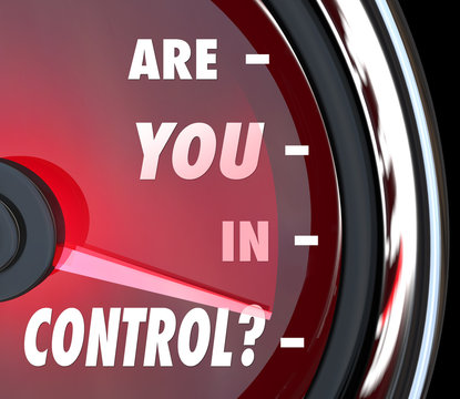 Are You In Control Words Speedometer Leader Organization